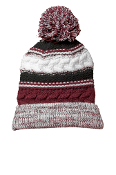 Cuffed Knit Beanie (MAROON / BLACK / WHITE)