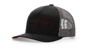 Laser Cut 5 Panel Cap (BLACK/CHARCOAL/RED)
